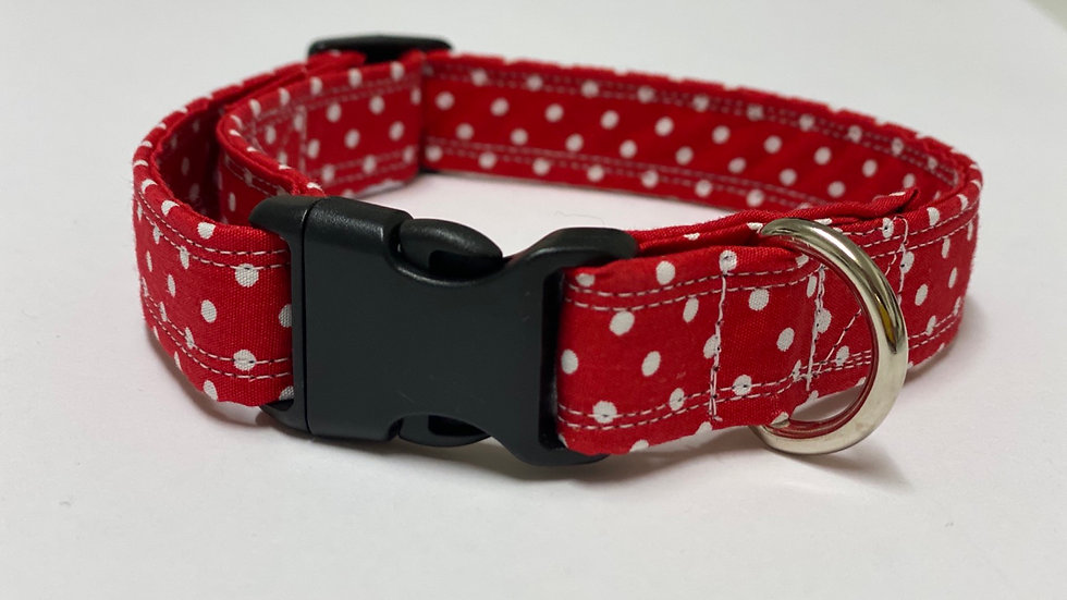 Beautiful Rose and Hubble Red Polkadot Dog Collar