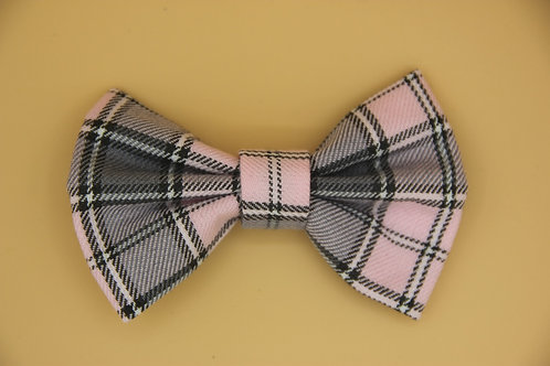 Pale Pink Check Dog Bow Tie