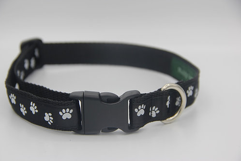 Black paw print durable dog collar