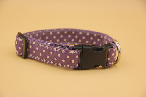 Beautiful Handmade Rose & Hubble Purple Polkadot dog Collar