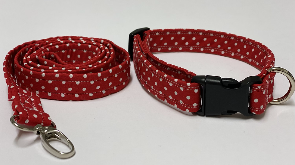 Beautiful Rose and Hubble Red Polkadot Collar and lead set