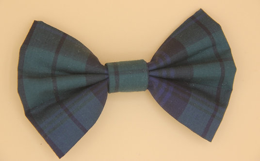 Handmade Dark Blue/Green Tartan Dog Bow Tie