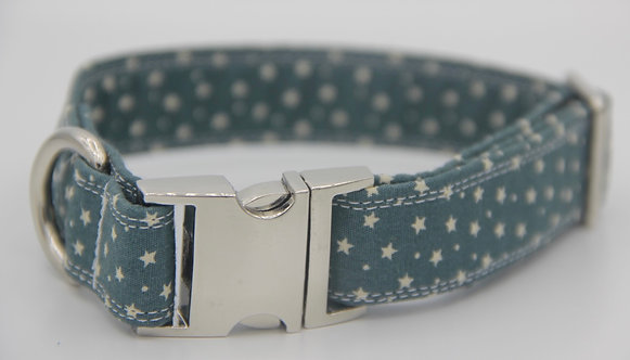 Teal Blue Star Dog Collar