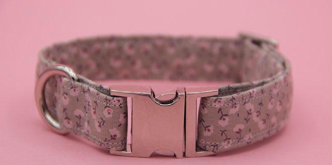 Pale Pink on tan flower dog collar