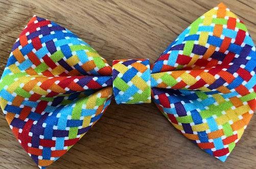 Geometric Rainbow Dog Bow Tie