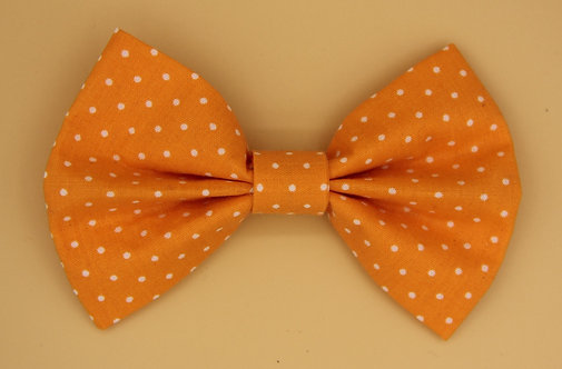 Bold Handmade Orange and White Polkadot Dog Bow Tie