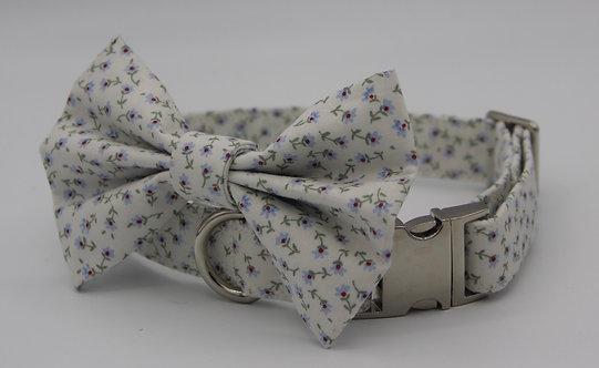 Blue daisy dog bow tie