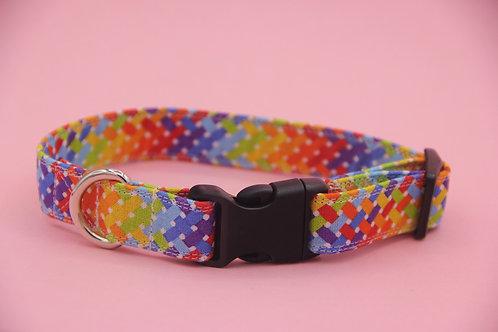 Geometic Rainbow Dog Collar