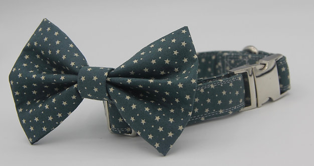 Teal Blue Star Dog Bow Tie