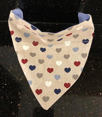 Blue Love Heart Dog Neck Tie