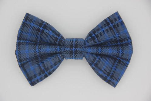 Dark Blue Check Dog Bow Tie