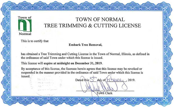 Normal IL tree triming & cutting license