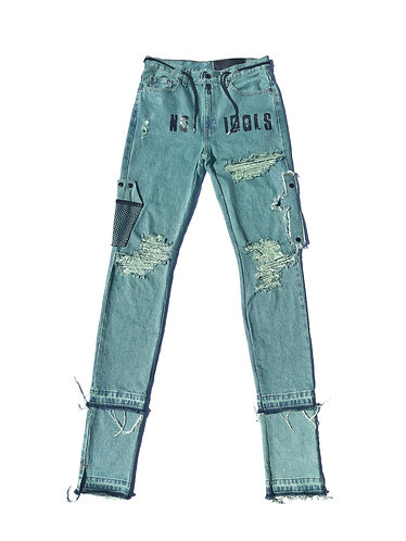 "Green ""No Idols"" Denim Jeans"