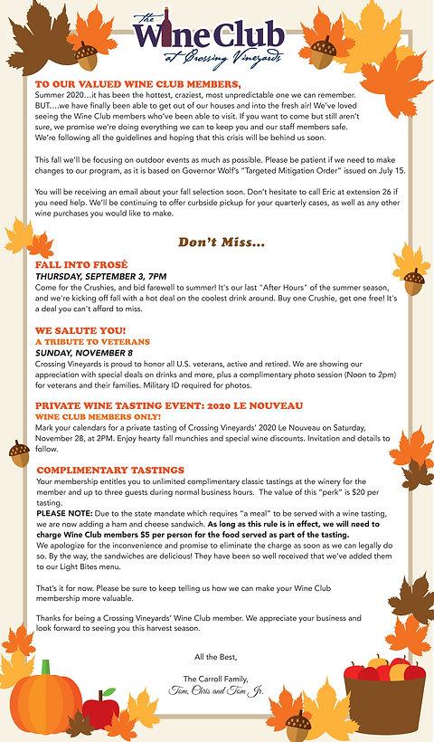 wine club fall 2020 newsletter