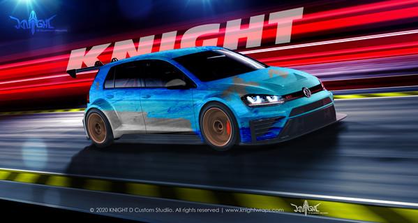 VW Golf Blue Dirt Racing