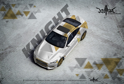 Infiniti Abstract Triangles Gold & White
