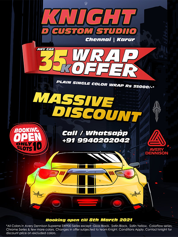 knight car wrapping offer chennai karur