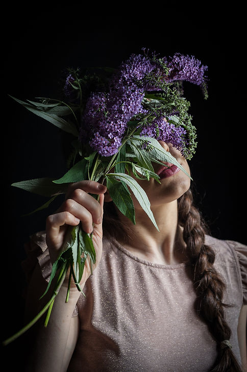 girl with purple flowers