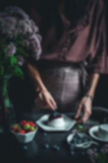 dark mood food photography, coconut panna cotta