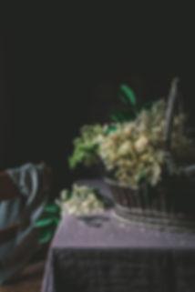 sambuco, elderflowers, dark mood food photography, linen