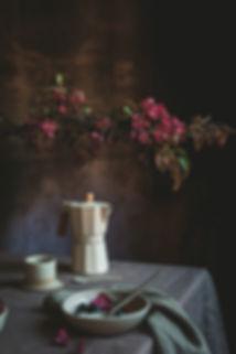 dark mood food photography, breackfast, moka, coffee time