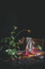 dark mood food photography, pomegranate, natura morta, drink