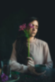 dark mood food photography, tea time, girl with pink flower