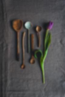 wood spoons, ceramic spoon