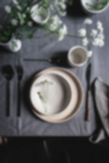 dark mood food photography, table setup, ceramics