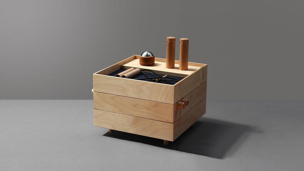 Set B, wooden frames to discretely organize sports equipment, by kenko sports equipment