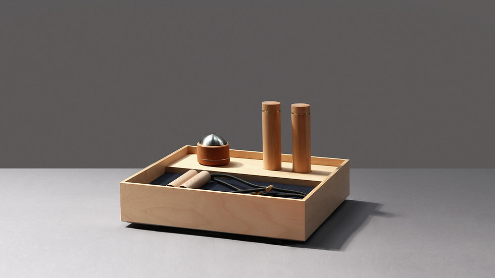 Set A, wooden frame to discretely organize sports equipment, by kenko sports equipment