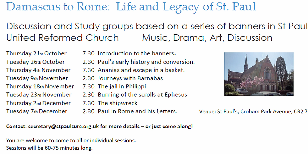Damascus to Rome - the Life and Legacy of St Paul - discussion series session 6