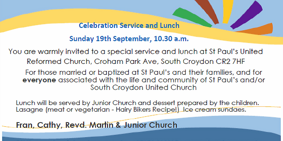 Celebration worship and lunch