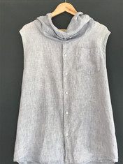 Grey Linen with cowl neck