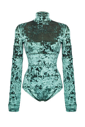 INSIDE OUT PATCHWORK EMERALD BODYSUIT