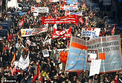 Mass protest: Hundreds of thousands of French workers staged a nationwide strike because of rising fears of unemployment