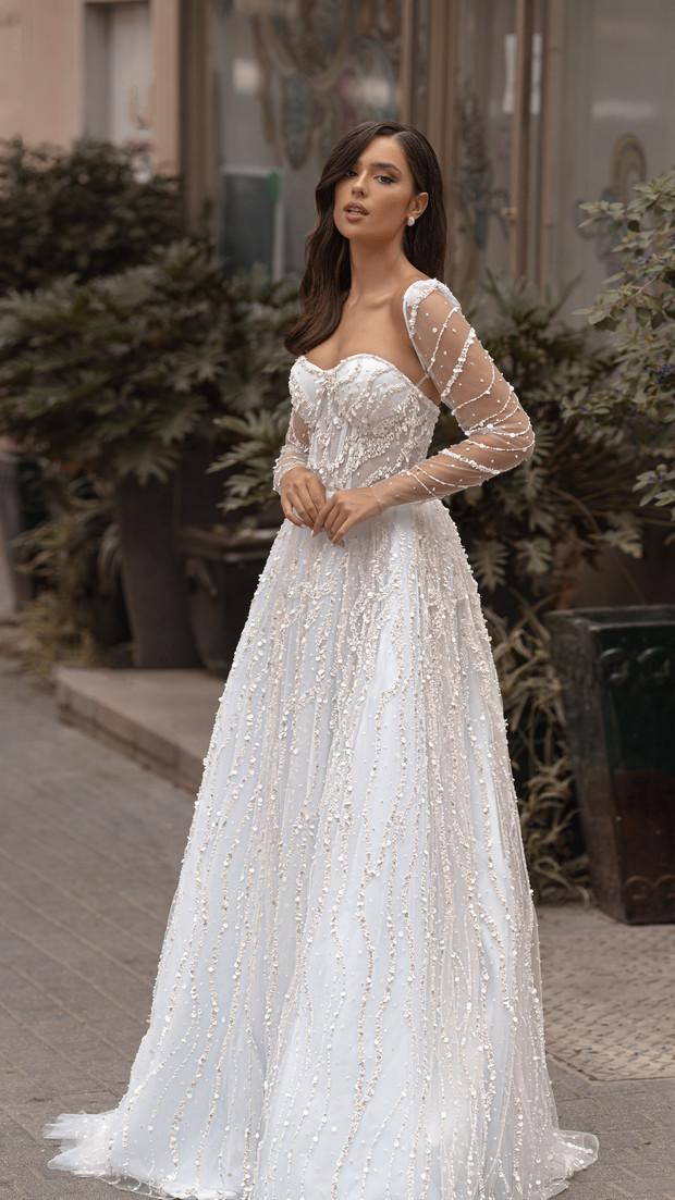 חנין קוטור שמלת כלה עם שרוולים וחרוזים קולקציית 2020