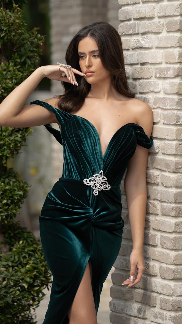 שמלת ערב צבע ירוק חנין קוטור עיצוב שמלות ערב