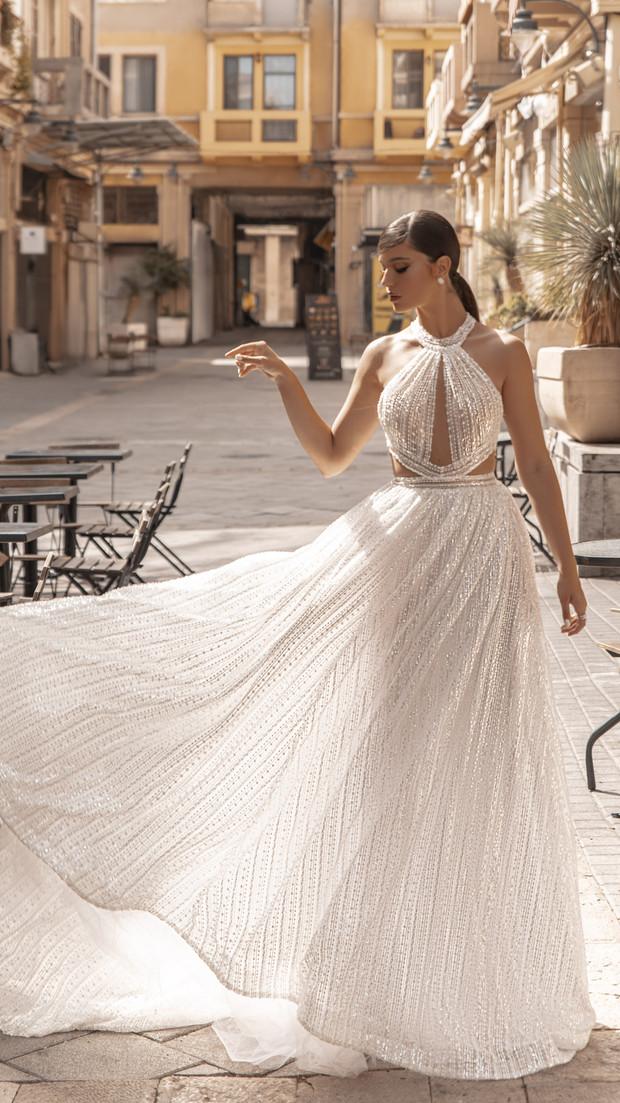 שמלת ערב מחשוף אמצע חנין קוטור