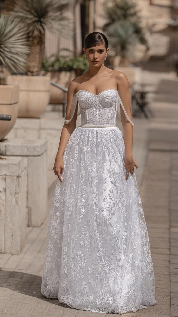 שמלת כלה לבנה קולקציית 2020 חנין קוטור