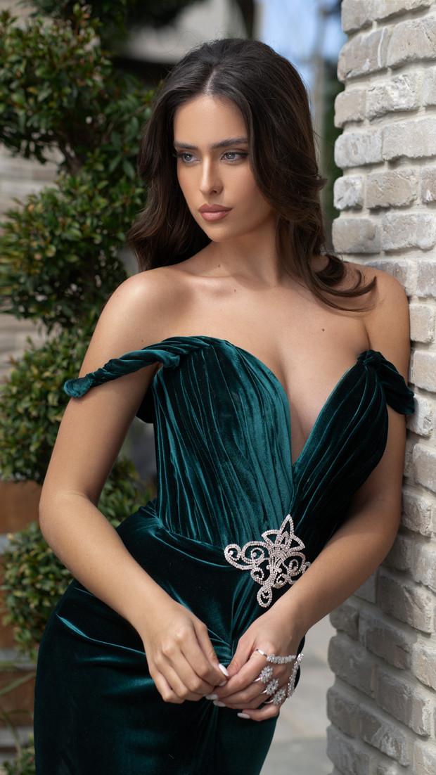 שמלת ערב ירוקה חנין קוטור קולקציית 2020