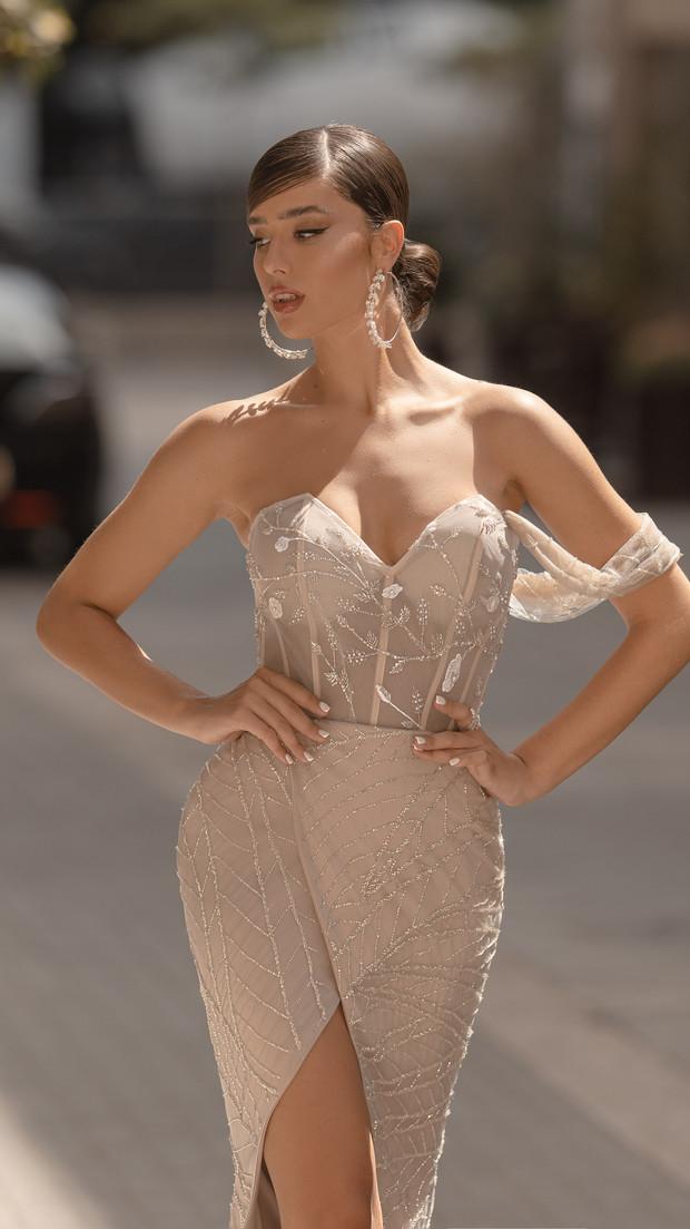 שמלת ערב ורודה חנין קוטור