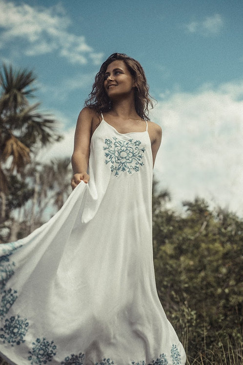 Laguna Dress Indigo Embroidery