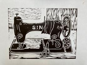 Sewing Machine Linocut