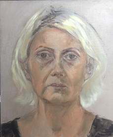 Self Portrait with Greenish Hair (oil painting)