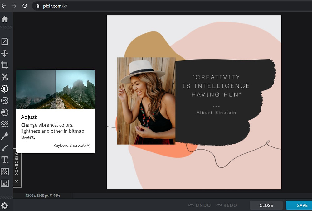 Best Content Creation Tools | An instagram post I am working on using Pixlr.X 1.