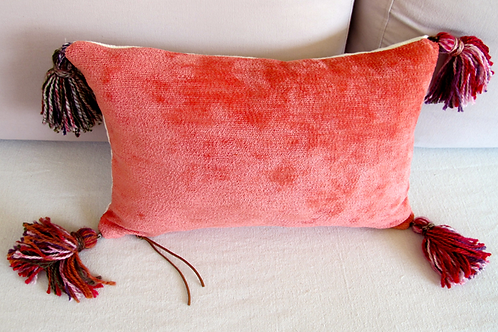 Pink Chenille throw with hand-made coral tassels