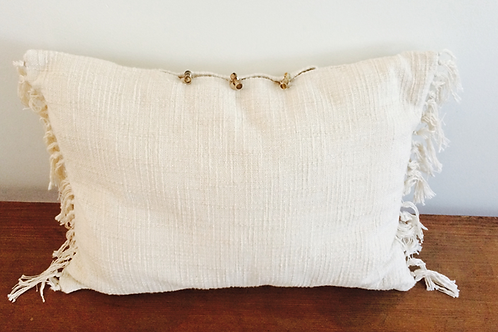 Vintage Fringed Pillow w/wooden fasteners