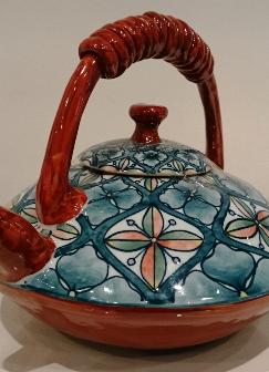七宝文様飾り土瓶(平型)