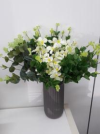 Eucalypt & small white flower arrangement